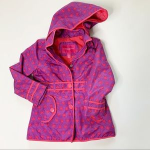 London Fog Fleece Lined Jacket hearts purple pink